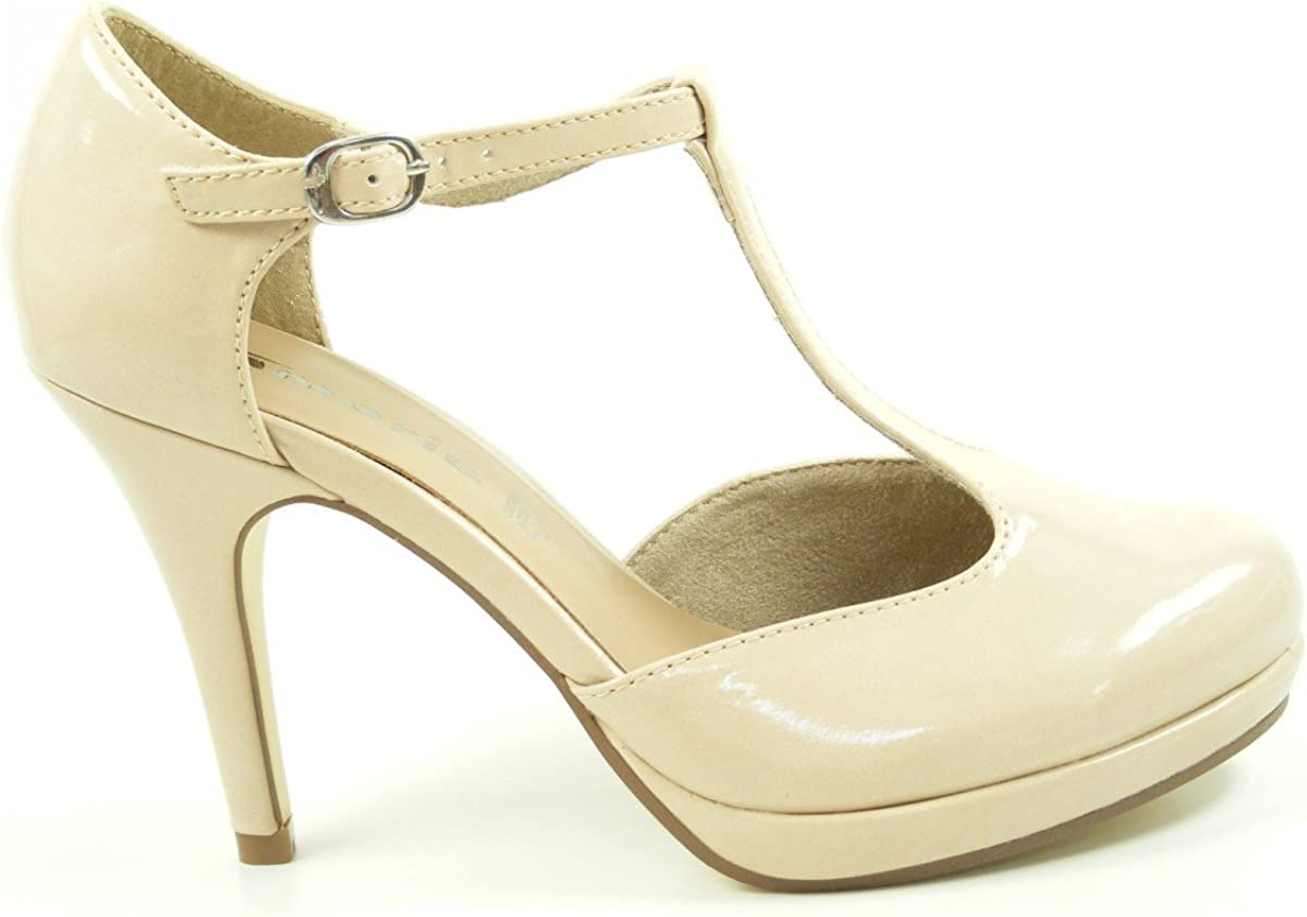 Tamaris Nude Patent T Bar High Heels Special Occasion Shoe Wedding Party Bargain