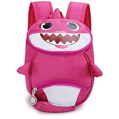 Kids Toddler Backpack 3D Cute Cartoon Small Shark Backpack Kindergarten Leash Bookbag for Boys Girls 1-6 Years Old rose red | Kids' Backpacks