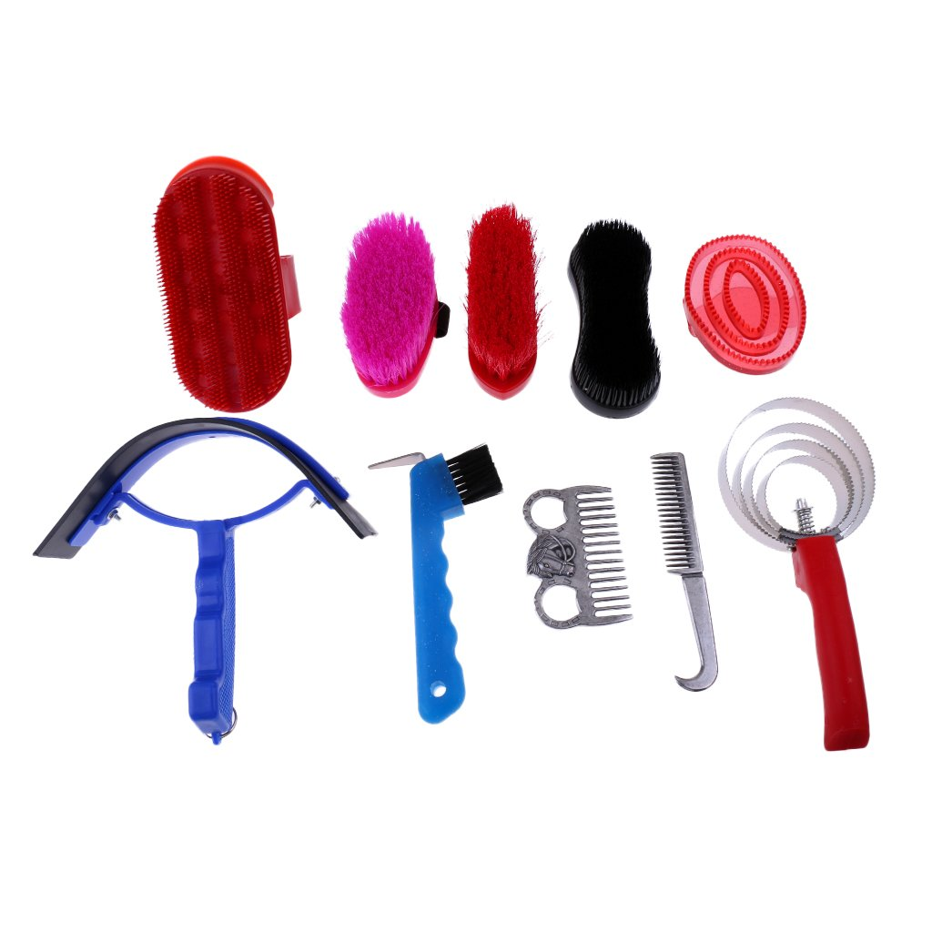 MonkeyJack Set of 10 Pieces Horse Grooming Kit with Carry Bag