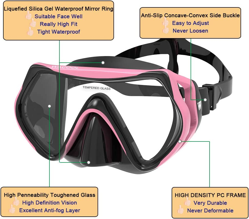 WACOOL Adults Snorkeling Snorkel Diving Scuba Package Set with Anti-Fog Coated Glass Purge Valve and Anti-Splash Silicon Mouth Piece for Men Women (Black+Pink) : Sports & Outdoors