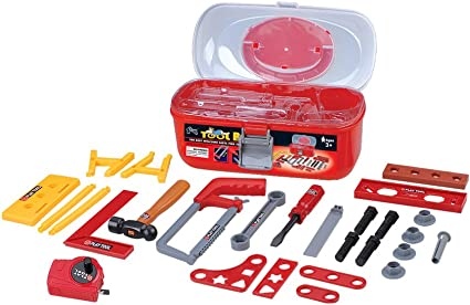 Kids Pretend Play Tool Kit Boys Construction Toy Tool Sets with Helmet 16Pcs Set