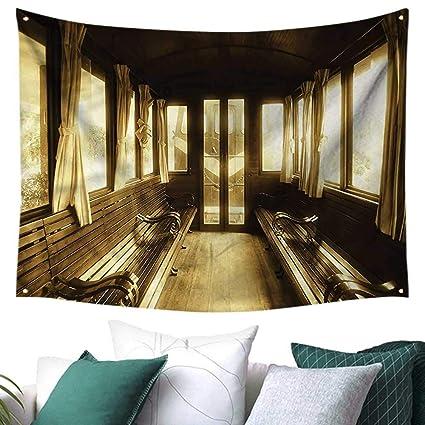 Fabulous Amazon Com Antique Wall Tapestry Old Vintage Train Salon Home Remodeling Inspirations Basidirectenergyitoicom
