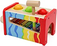 Pidoko Kids Pound & Tap Bench with Slide Out Xylophone - Toddlers Musical Pounding and Hammer - Wooden Educational Pound a B