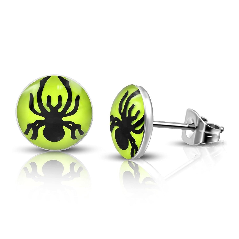 Stainless Steel 3 Color Spider Lemon Green Circle Stud Earrings (Pair)