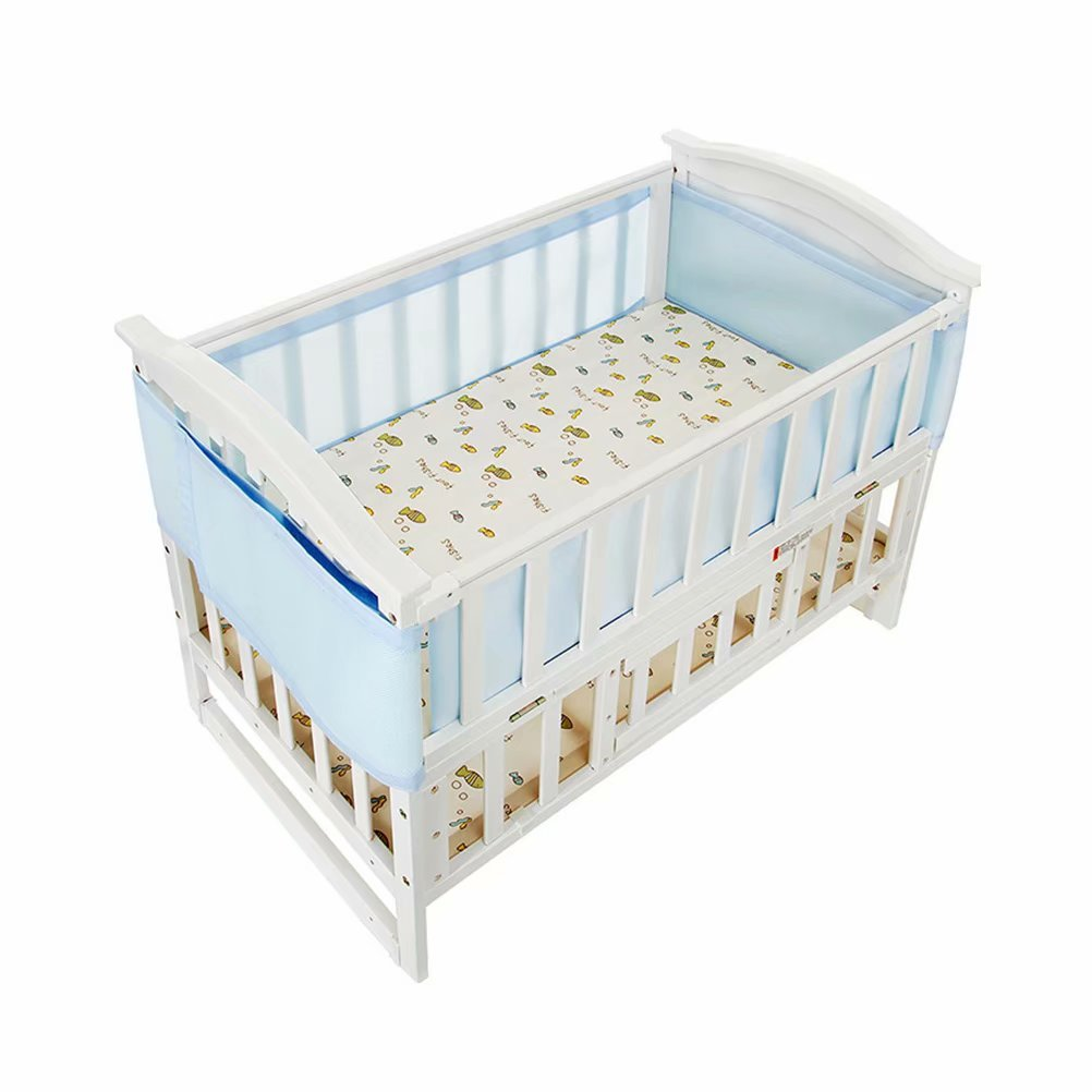 Breathable Mesh Crib Bumper Collision-Proof Nursery Bedding Mesh Liner Detachable Sandwich Crib Liner for Baby Infant