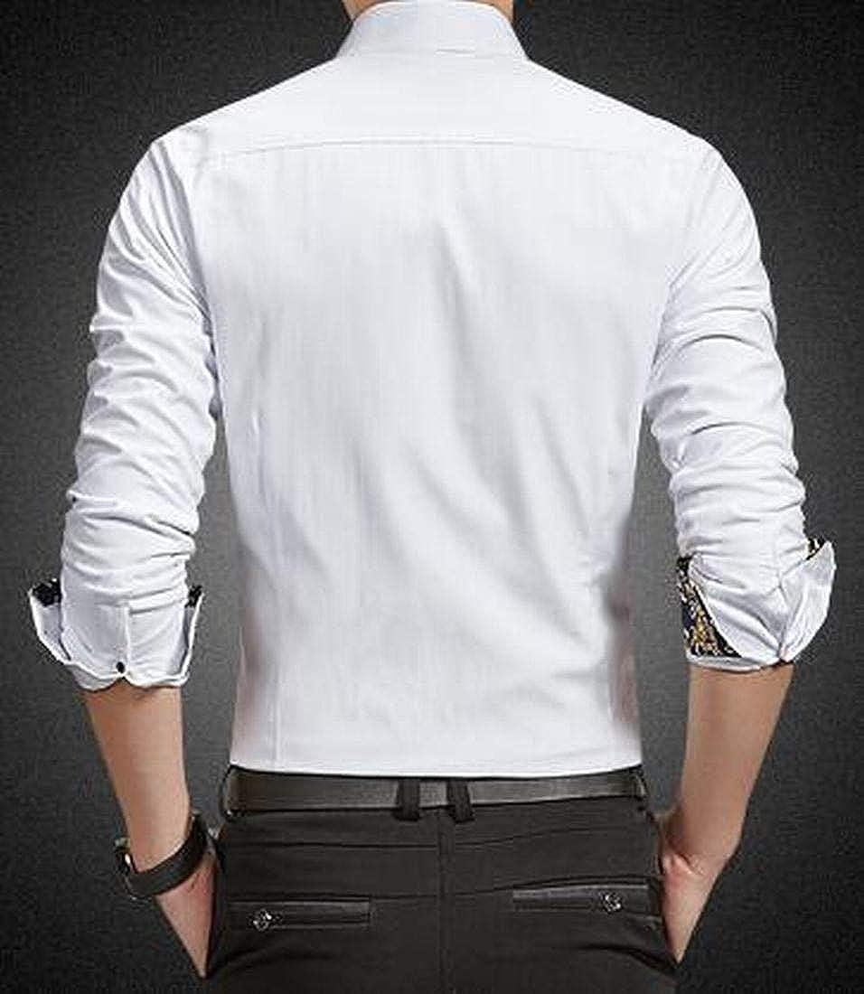 XiaoTianXinMen XTX Mens Button Up Casual Business Warm Long Sleeve Printed Dress Shirt