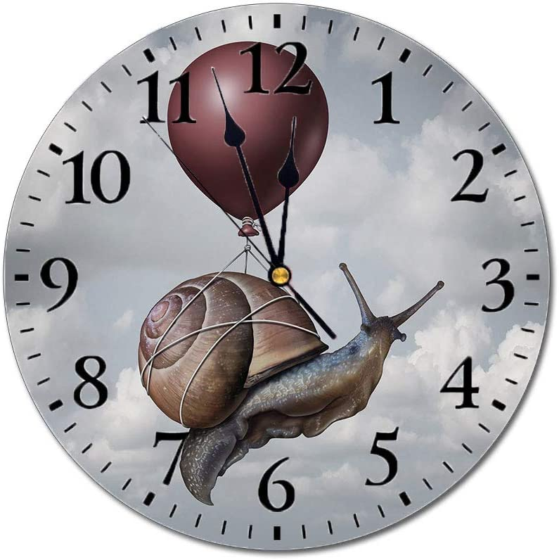 Yeeboo Surrealistic 3D Print Round Wall Clock,Snail Hovering in Sky with A Balloon Home is Where The Heart is Print 10 Inch Battery Operated Quartz Analog Quiet Desk Clock,Purple Grey Maroon