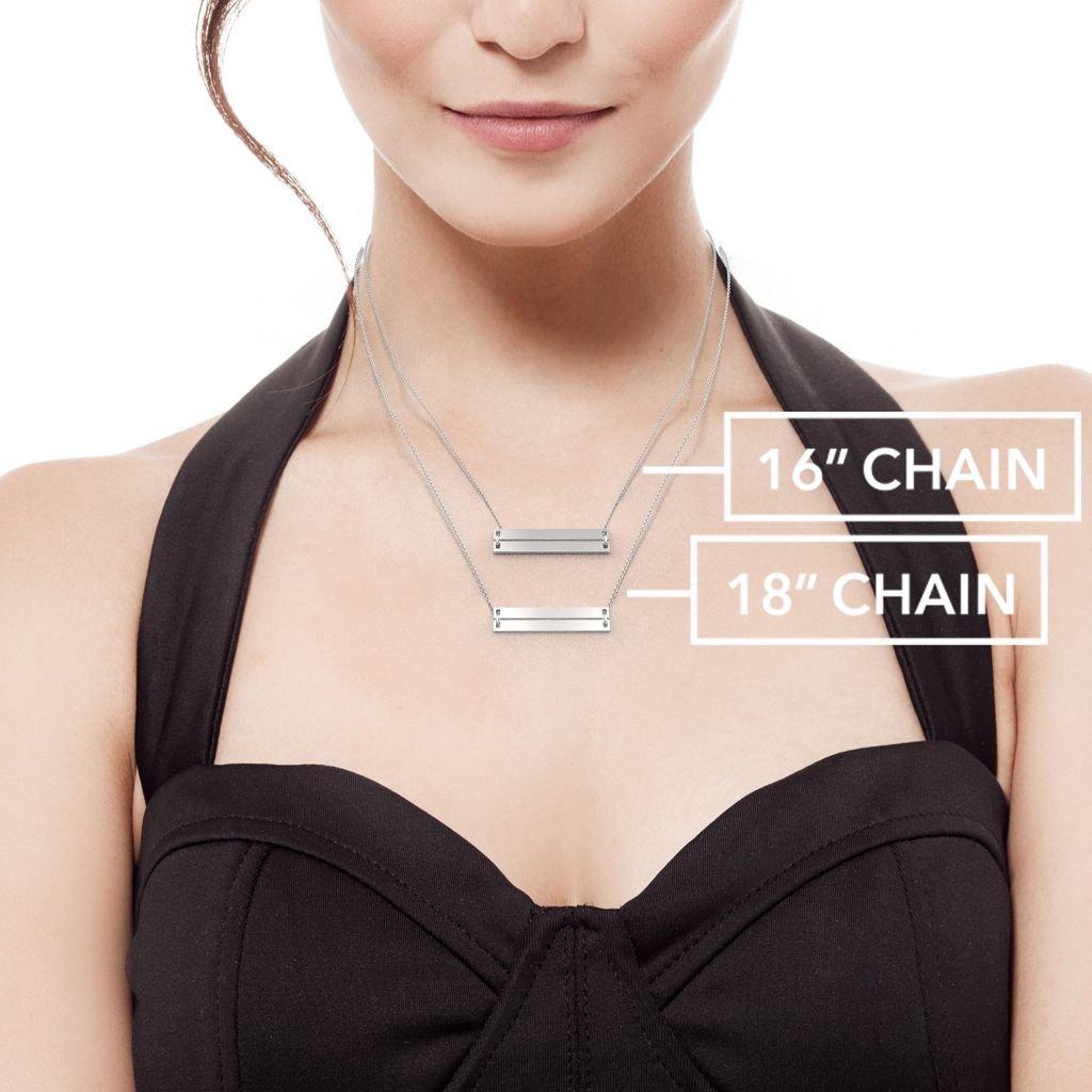 14K Classic Engravable Double Bar Necklace by JEWLR