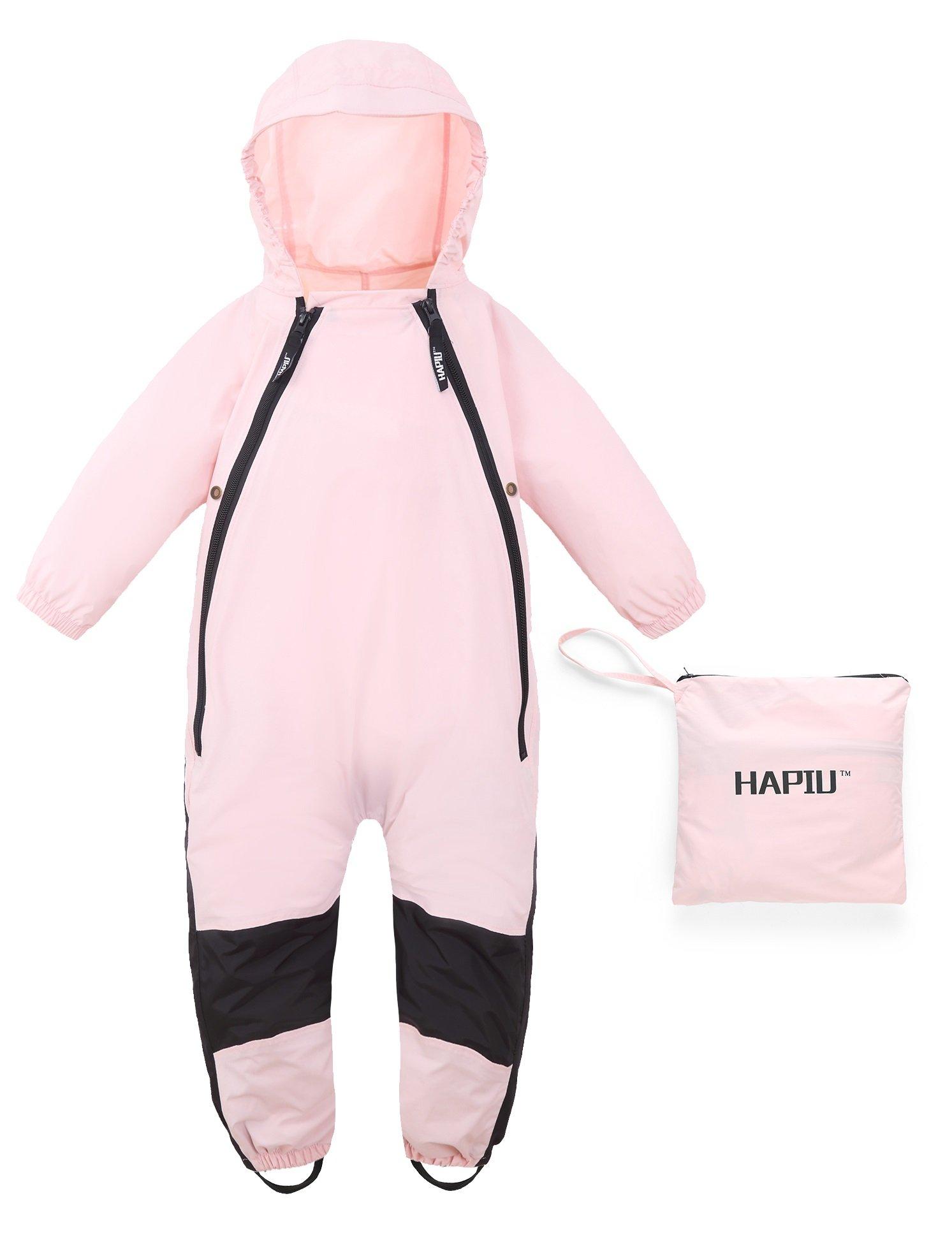 HAPIU Kids Toddler Rain Suit Muddy Buddy Waterproof Coverall,Pink,12M,Original