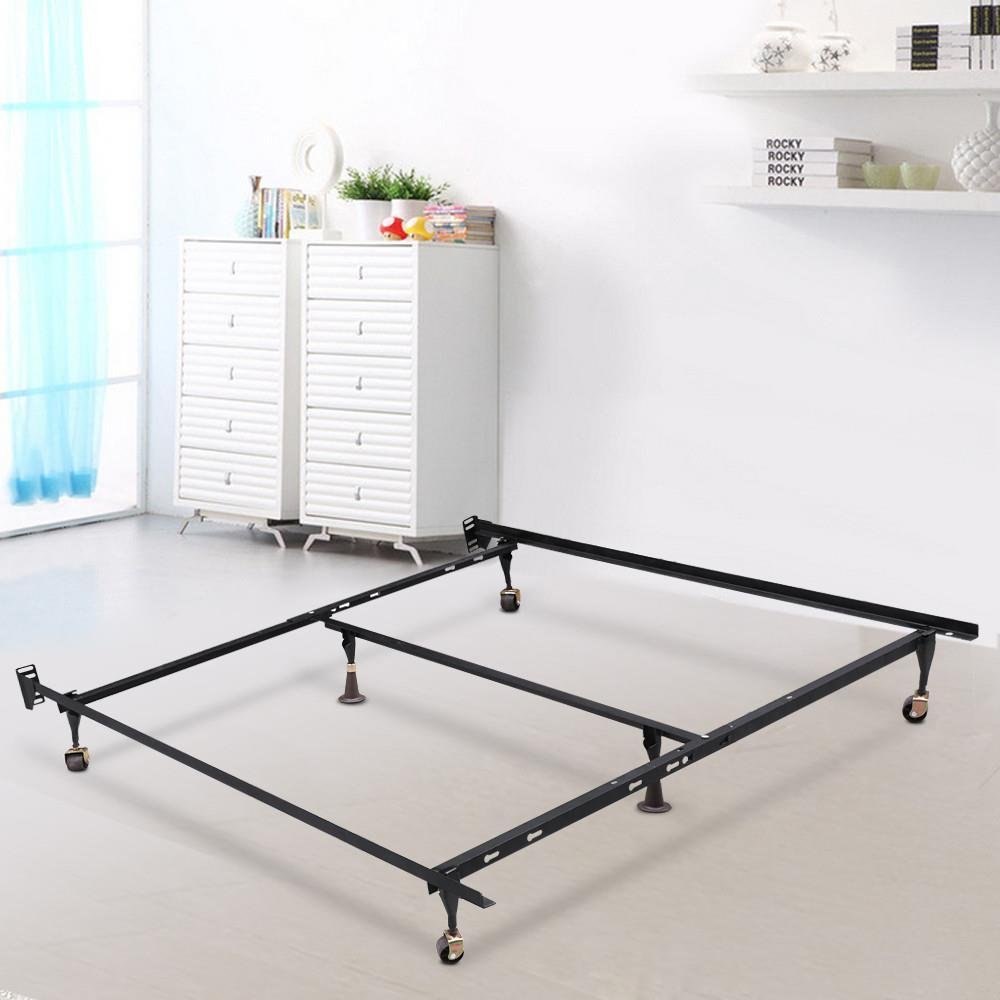 Gotobuy metal platform bed frame adjustable twin full for Short twin bed frame