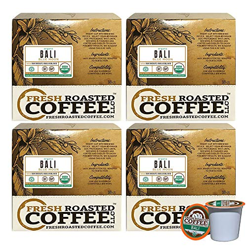 Fresh Roasted Coffee LLC, Organic Bali Blue Moon Coffee Pods, Medium Roast, Rainforest Alliance Certified, USDA Organic, Capsules Compatible with 1.0 & 2.0 Single-Serve Brewers, 72 Count