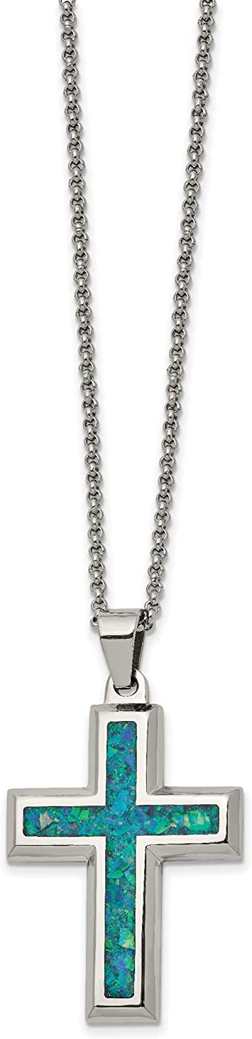 Bonyak Jewelry Stainless Steel Polished w//Imitation Opal 22in Large Cross Necklace in Stainless Steel