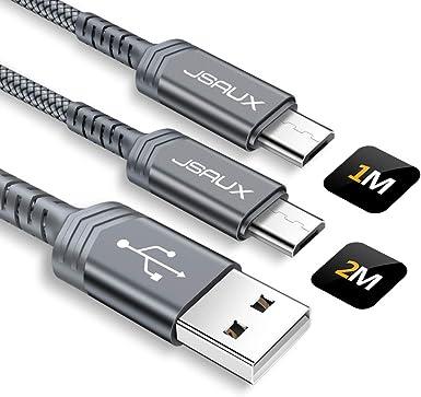 JSAUX - Cable de carga micro USB (2 m, 2,4 A, nailon, para Samsung ...