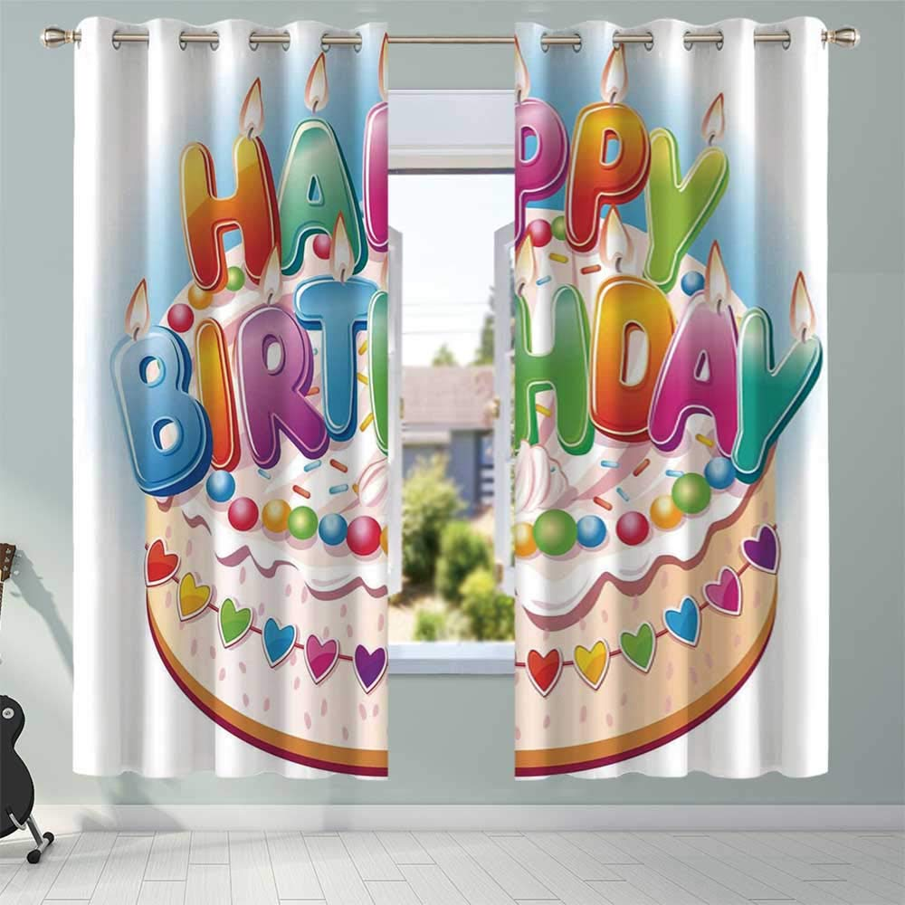YOLIYANA Birthday Decorations for Kids No Odor Blackout Curtains,Cartoon Happy Birthday Party Image Cake Candles Hearts Print for Baby's Room Toy House Indoor,108.3''W x 95.3''H