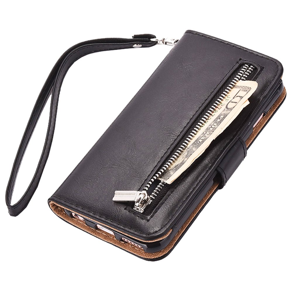 new product 0a8a6 373e9 iPhone 7 Plus wallet Case, WOOZU Hidden iphone7 Plus Wallet Case  [Folio][Flip][Wrist Strap] with Stand Feature and Card Holder for Apple  iPhone 7 Plus ...