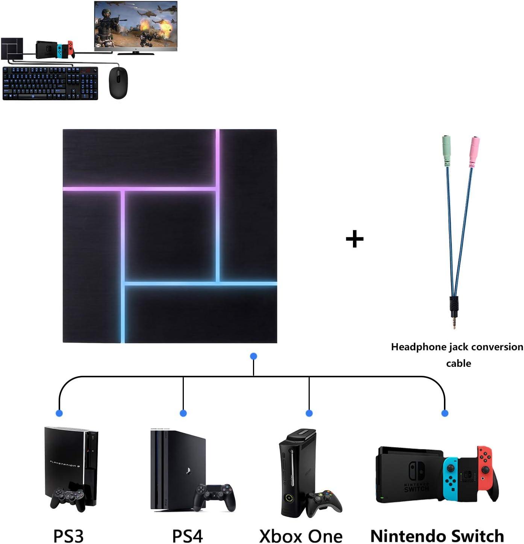 Convertidor de adaptador de teclado y mouse PXN para PS3 / PS4 / Xbox One / Nintendo Switch, con conector para auriculares de 3.5 mm, voz de juego ...