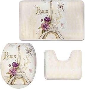 Coloranimal Bathroom Rug&Contour Mat&Lid Cover 3 Piece Bath Rugs Set for Home Decoration, Vintage Paris Eiffel Tower Butterfly Floral Design Flannel Carpets