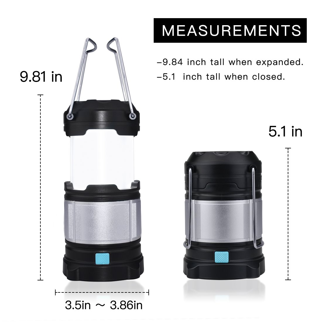 Portable Outdoor LED Camping Lantern Light Rechargeable Battery,Folding Camping Lantern Lamp for Home ,Outdoor, Emergency, Hiking, Fishing and Tent by Flyspin (Image #2)
