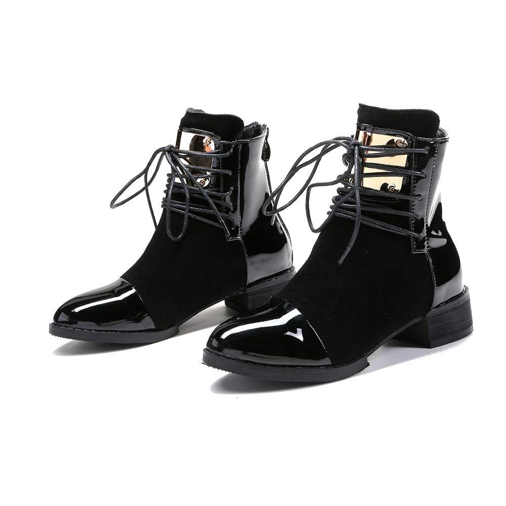 buy online 5fe72 d347a LIURUIJIA Women Leather Genuine Boots Martin Ankle Boots Sheet Metal Short  Boots Flat Bottom Black Wine Red GI-BT-GC213-2