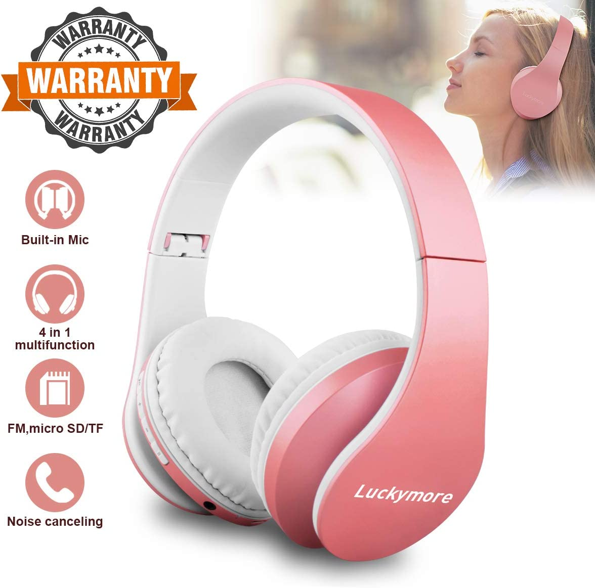 VERYCOZY Cascos Bluetooth Inalambricos,Over Ear Auriculares Bluetooth Plegable con Micrófono Auriculares Inalámbricos Bluetooth para Smartphone,Tablet, PC, TV: Amazon.es: Electrónica