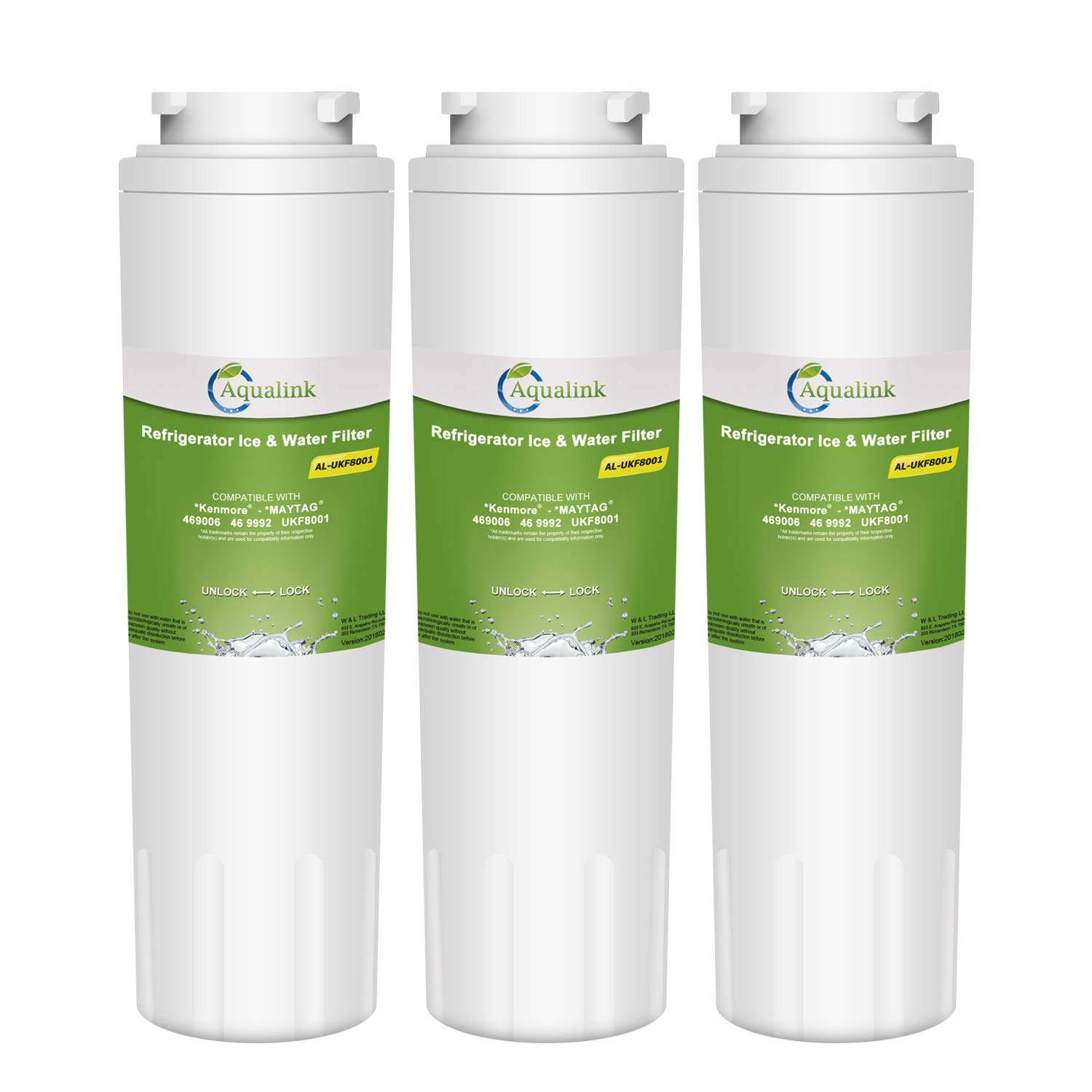AQUALINK UKF8001 Replacement Refrigerator Water Filter, Compatible with Maytag UKF8001, UKF8001AXX, UKF8001P, Whirlpool 4396395, 469006, EDR4RXD1, EveryDrop Filter 4, Puriclean II 3 PACK