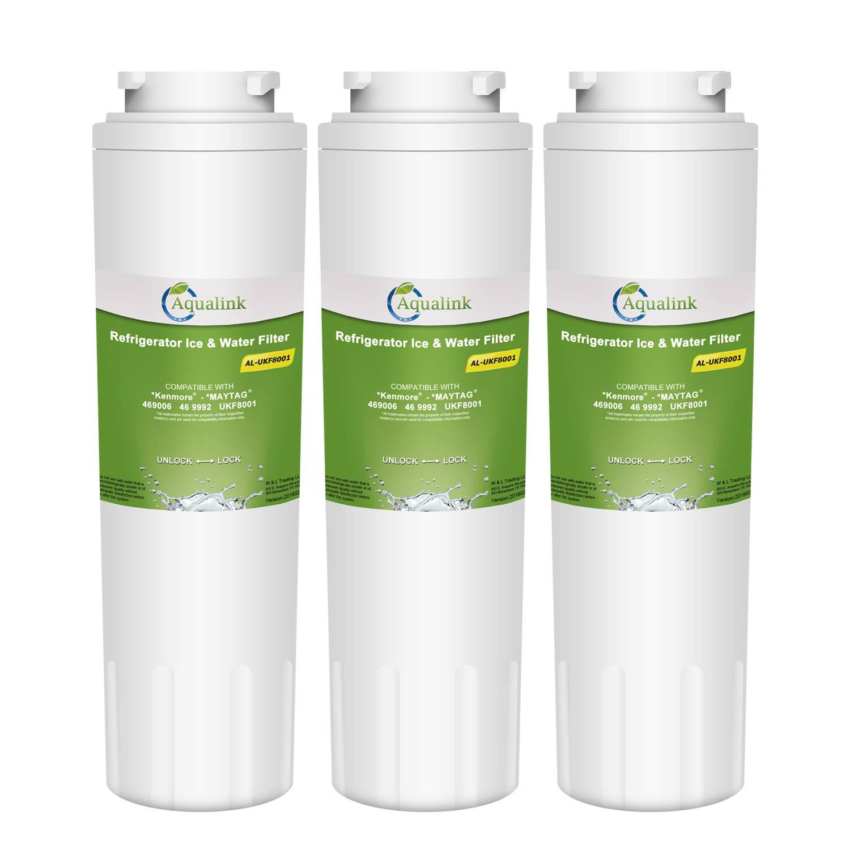 AQUALINK UKF8001 Refrigerator Water Filter Replacement for Maytag UKF8001, UKF8001AXX, UKF8001P, Whirlpool 4396395, 469006, EDR4RXD1, EveryDrop Filter 4, Puriclean II-Standard (3 Pack)