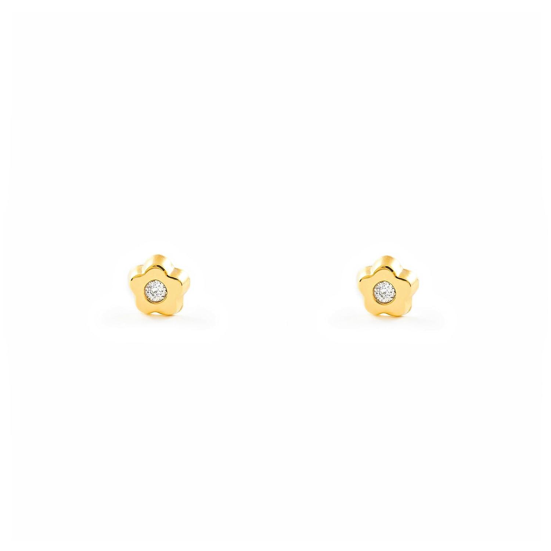Boucles d'Oreilles Enfant fleur - Or Jaune 375/1000 (9 Carats) T1874P9K