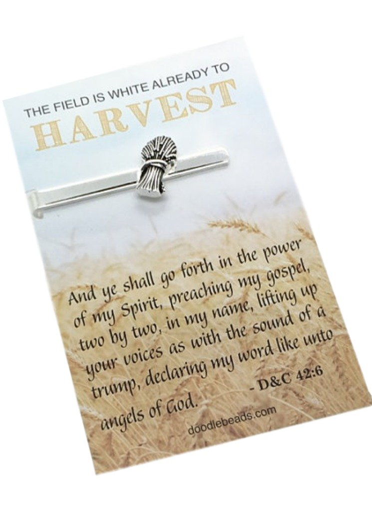 LDS Missionary Gift - Wheat Tie Bar carded with message - ''The Field is white already to harvest'' - Missionary Tie bar, Tie Tack, Tie Clip