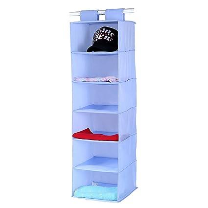 Hanging Closet Organizer, Doffey 6 Shelf Hanging Clothes Storage Box,  Collapsible Accessory Shelves