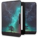 kwmobile Case for Amazon Kindle Paperwhite - Book Style PU Leather Protective e-Reader Cover Folio Case - (for 2017 and Older) Blue/Grey/Black