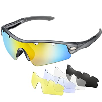 Gafas de sol Ciclismo Polarizadas de OMorc, Gafas Deportivas Polarizadas con 5 Lentes (1