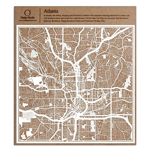 O3 DESIGN STUDIO Atlanta Paper Cut Map White 12×12 inches Paper Art]()