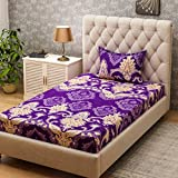 Bombay Dyeing Amber Microfiber Single Bedsheet with 1 Pillow Cover