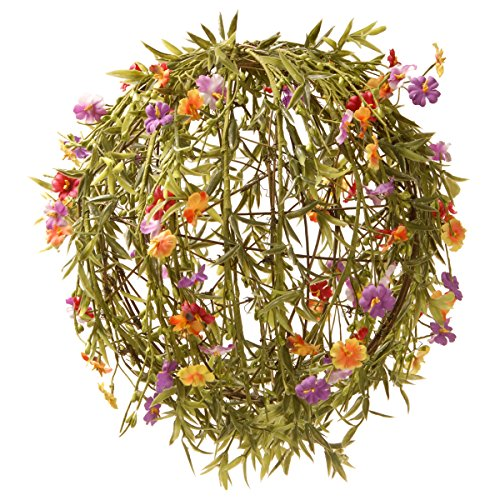 National Tree 12 Inch Flower Ball with Orange, Yellow and Pink Mixed Flowers (GAF30-12BO) by National Tree Company