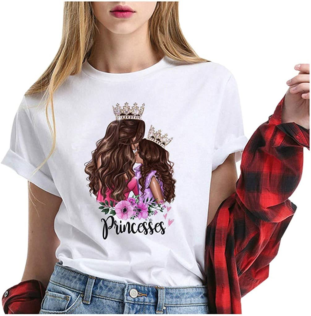 Eoeth Mothers Day T-Shirt Women Summer Mom Letter Print Shirts Simple Slim O Neck Short Sleeve Tee Tops Blouse Pullover