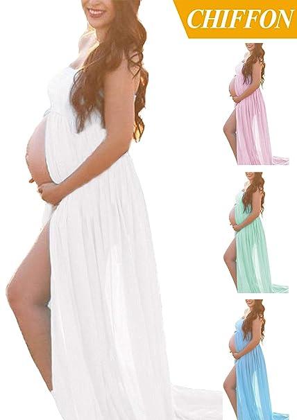 White Maternity Off Shoulder Tube Chiffon Gown Split Front Strapless