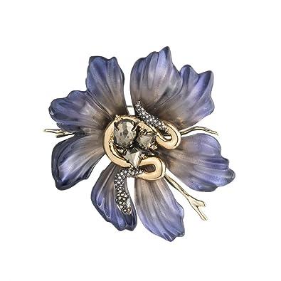 Alexis Bittar Lucite Flower & Crystal Snake Pin uXA7S