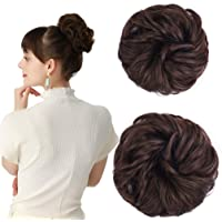 REECHO Women's Thick 2PCS Curly Wavy Updo Hair Bun Extensions Messy Hairpieces