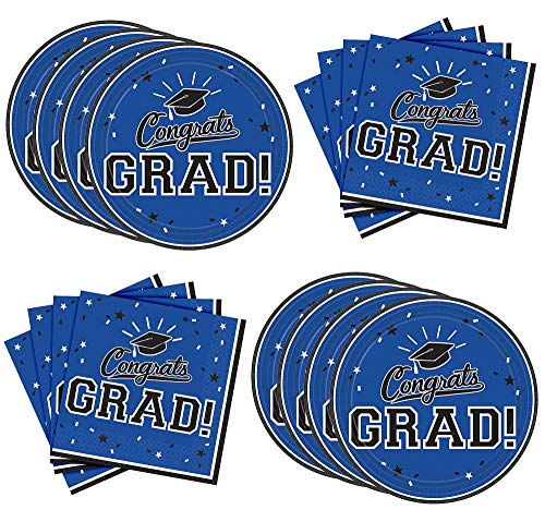 (Party City Blue Congrats Grad Graduation Lunch Supplies for 18 Guests, Large Paper Plates and Napkins for Easy Cleanup)