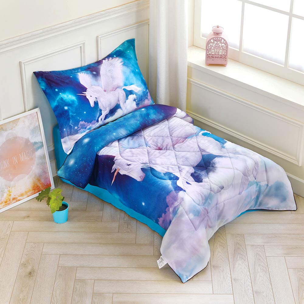 wowelife unicorn toddler comforter sets white unicorn toddler bedding for girls with comforter fitted sheet top sheet and 1 pillow case fly unicorn