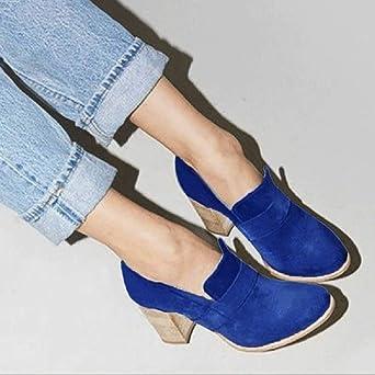ZODOF Botas de Mujer Zapatos de tacón Alto de Ante con Punta Redonda para Mujer Botas de Color Puro Zapatos sin Cordones: Amazon.es: Ropa y accesorios