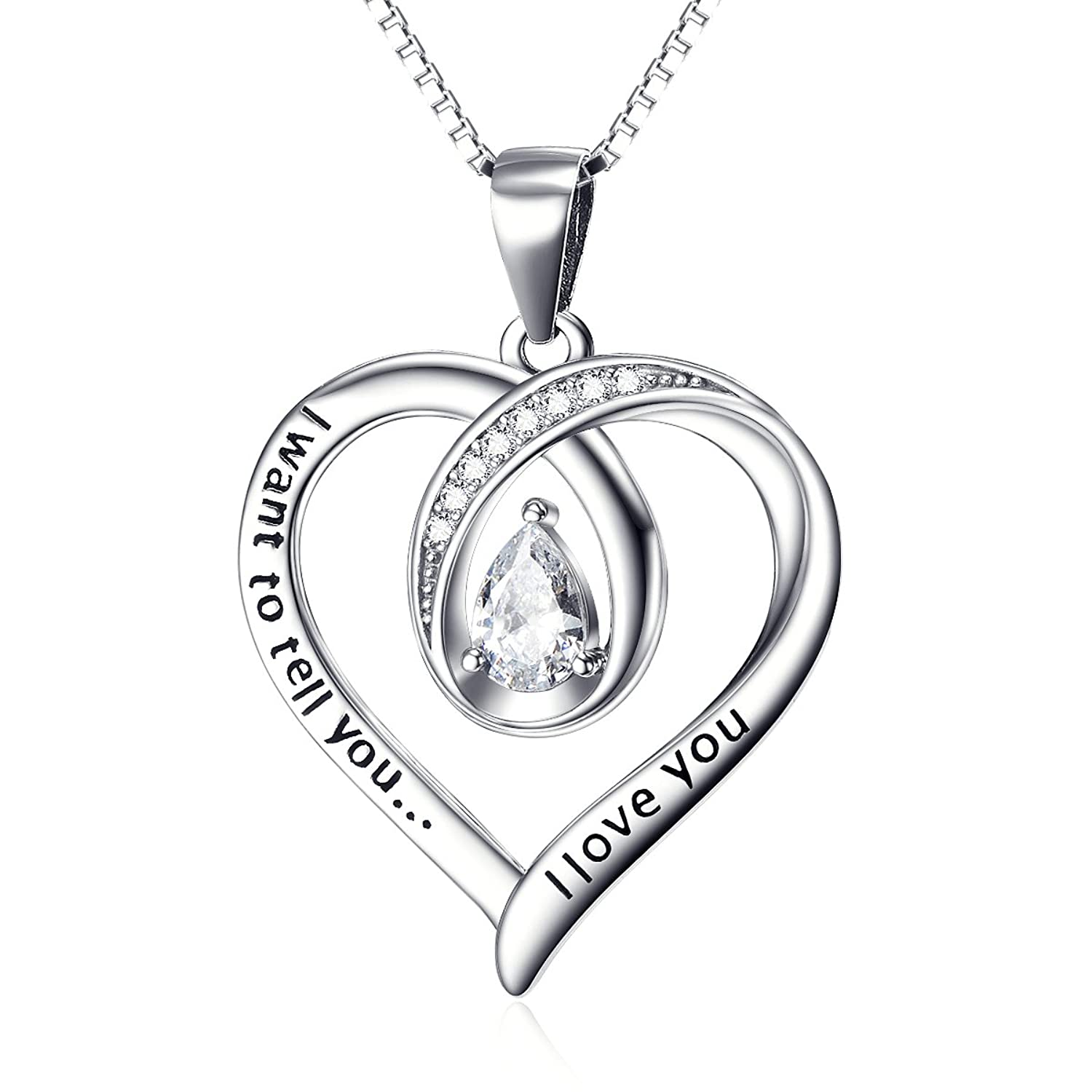 Amazon yfn s925 sterling silver i want to tell you i love amazon yfn s925 sterling silver i want to tell you i love you infinity love heart engraved charm pendant necklace 18charm heart jewelry mozeypictures Images