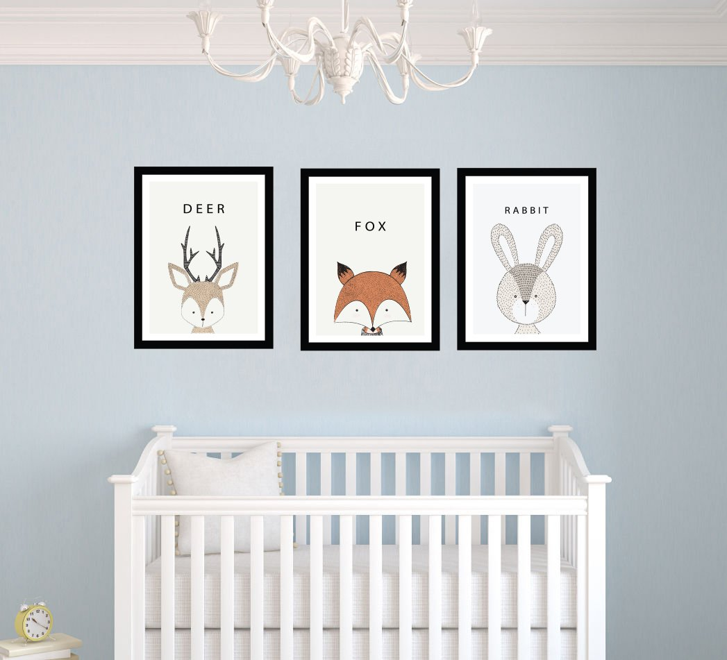 Fox Deer Rabbit Frames - Cute Animals Frames Edition - Baby Boy - Nursery Wall Decal For Baby Room Decorations - Mural Wall Decal Sticker For Home Children's Bedroom (MM92) (Wide 22 x 9 Height) e-Graphic Design Inc
