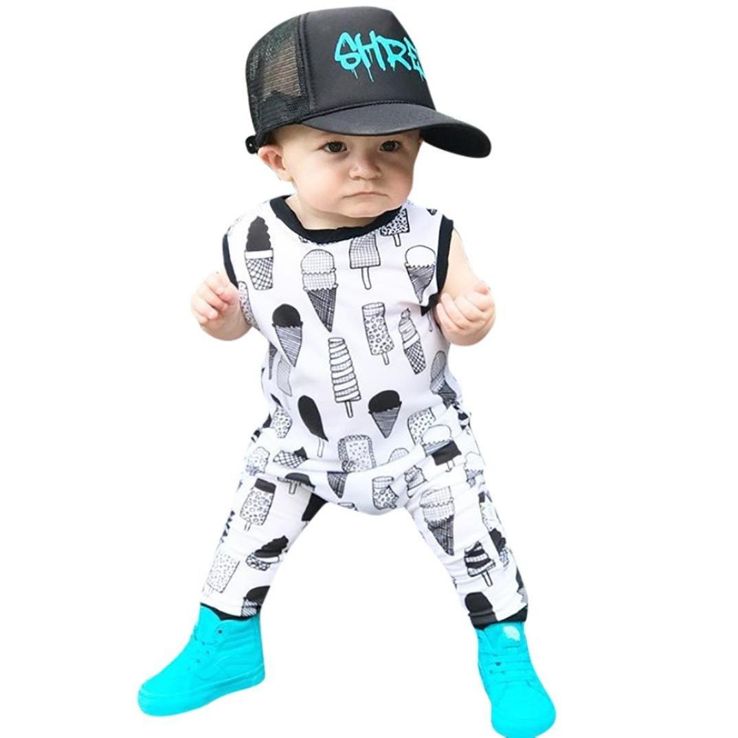 KaiCran Baby Layette Set Sleeveless Cartoon Ice Cream Romper Jumpsuit Outfit