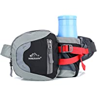 Hayder Waist Bag with Water Bottle Holder Breathable Outdoor Waterproof Sports Waist Pack Bum Bag Pocket for Hiking Running Cycling Climbing