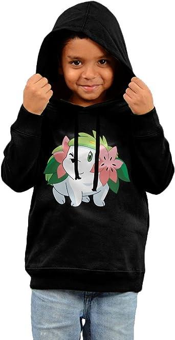 Pokemon Shaymin Anime Chibi Cute Kawaii2 Black Cotton Hooded Sweatshirts For Toddler Boys Girls