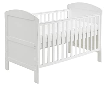 babymore aston drop side cot bed white with foam mattress