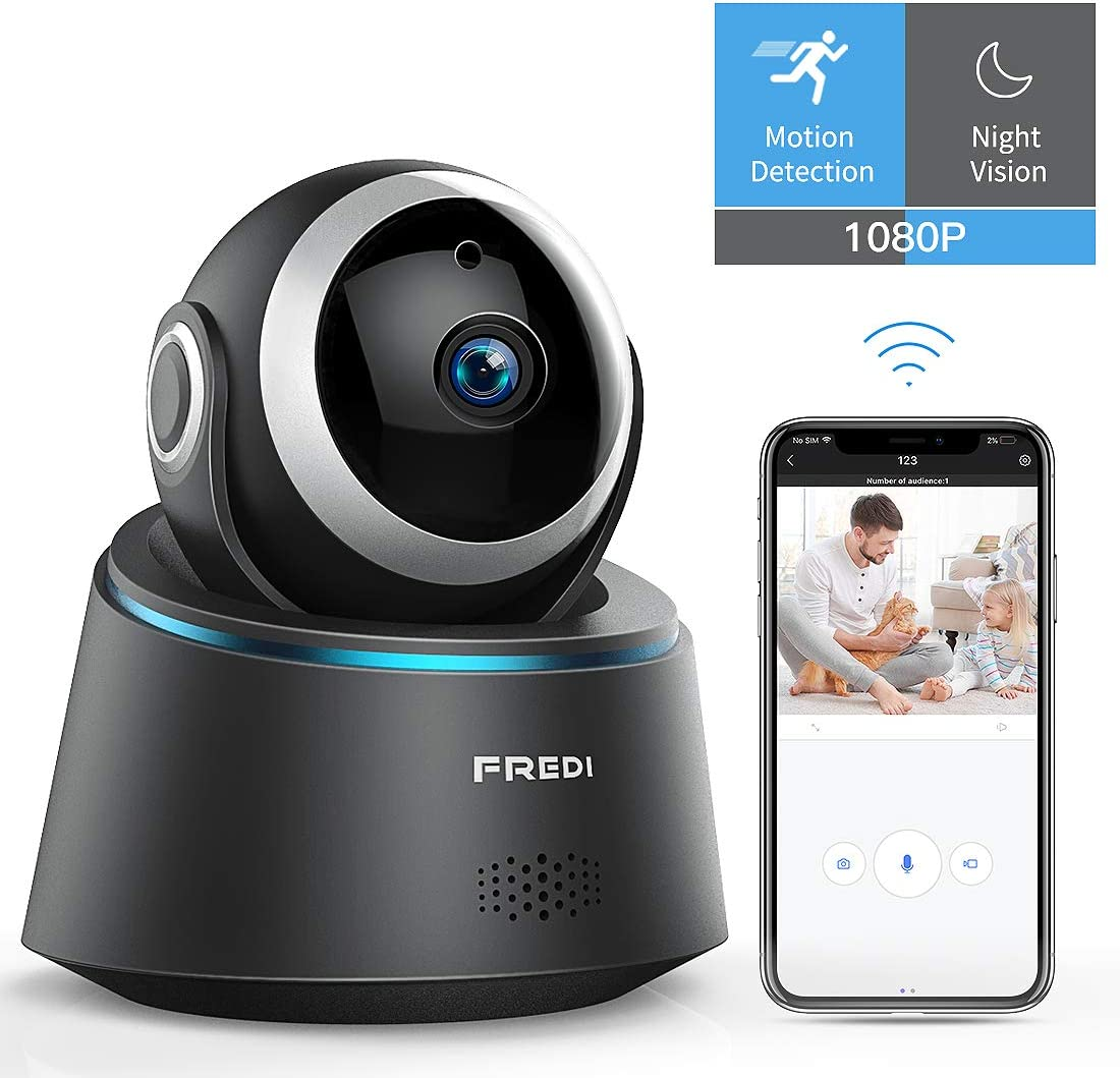 FREDI 1080P WiFi Pet Camera Wireless Home Security IP Cameras, Nanny Cam with Motion Detection Night Vision,2-Way Audio,Pan Tilt Zoom,Supports 2.4G Wi-Fi for Home Surveillance Pet Elder Baby Monitor