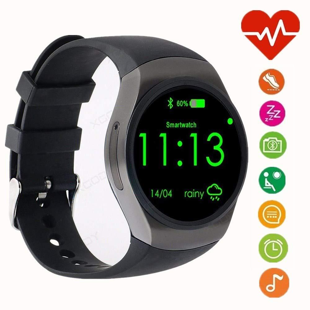 WADEO Bluetooth Smart Watch Phone, 1.3 Pulgadas IPS AMOLED Pantalla táctil Redonda, Soporte SIM TF Monitor para Dormir, Monitor de Ritmo cardíaco y ...