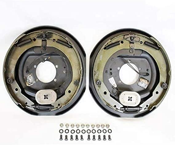 2-Pk Trailer Brake Self Adjusting Backing Plates 12 2LH 2RH w//4 Drum 6 on 5.5